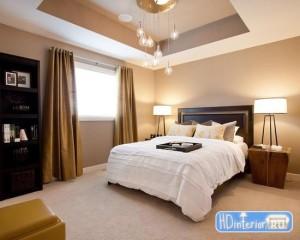Спальня дизайн с натяжными потолками