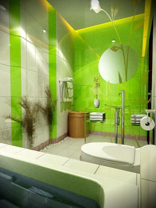 Интерьер ванны в зеленом цвете фото