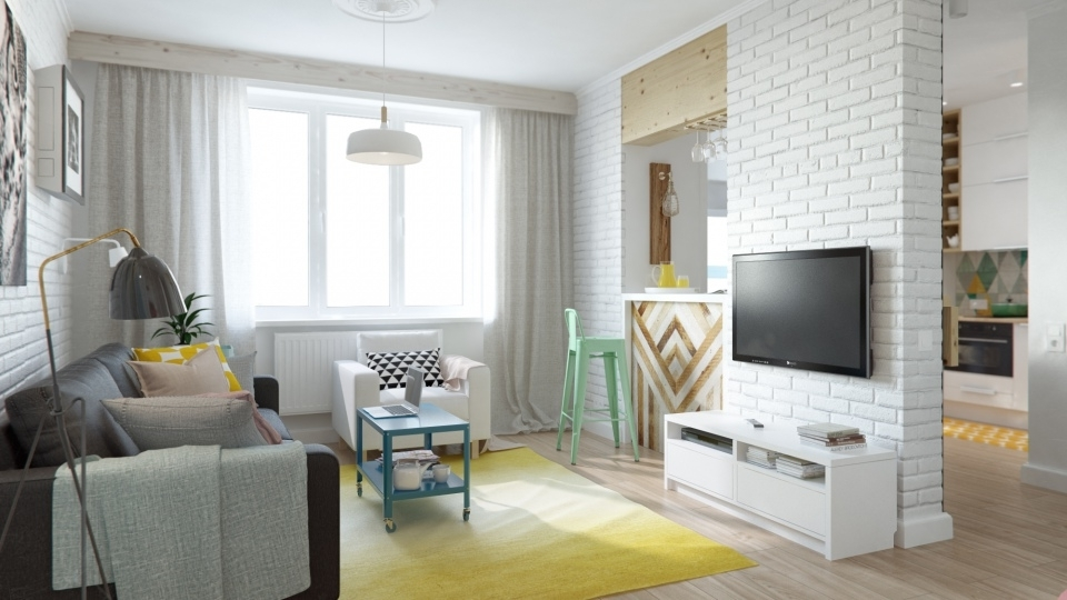 Интерьер однокомнатной квартиры 45 кв.м фото в современном стиле