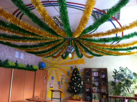 Как украсит потолок на новый год