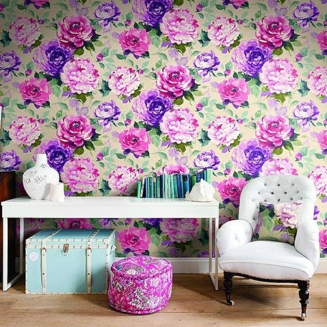 интерьер обои в большие цветы Как стирать